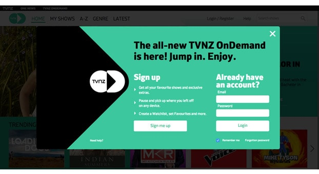 Register for TVNZ OnDemand