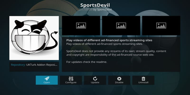 Installation of SportsDevil add-on